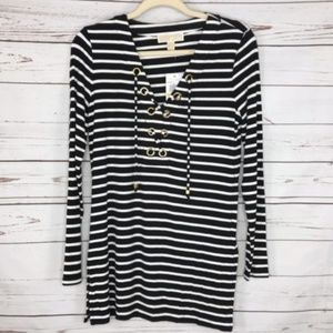 Michael Michael Kors Black White Stripe Top NWT